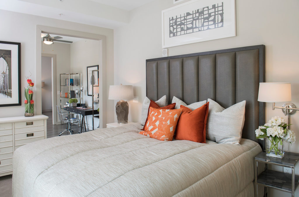 the bedroom of an upscale condo in Buckhead