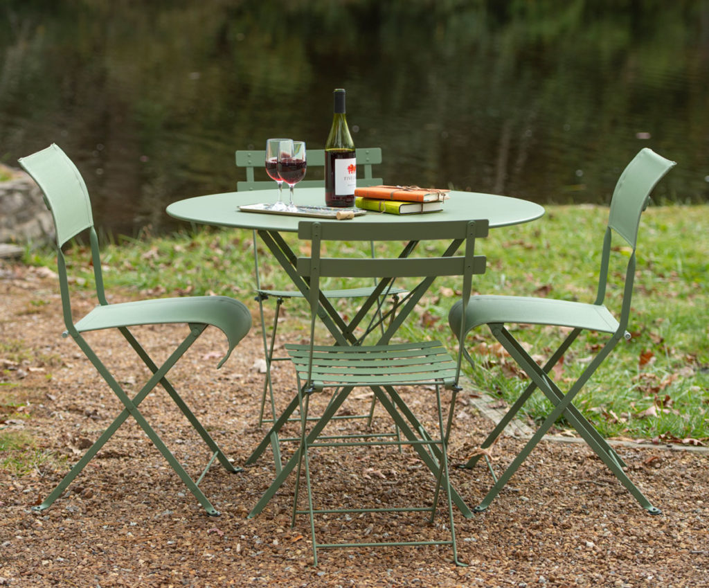 lakeside chairs around a table, ready for a party