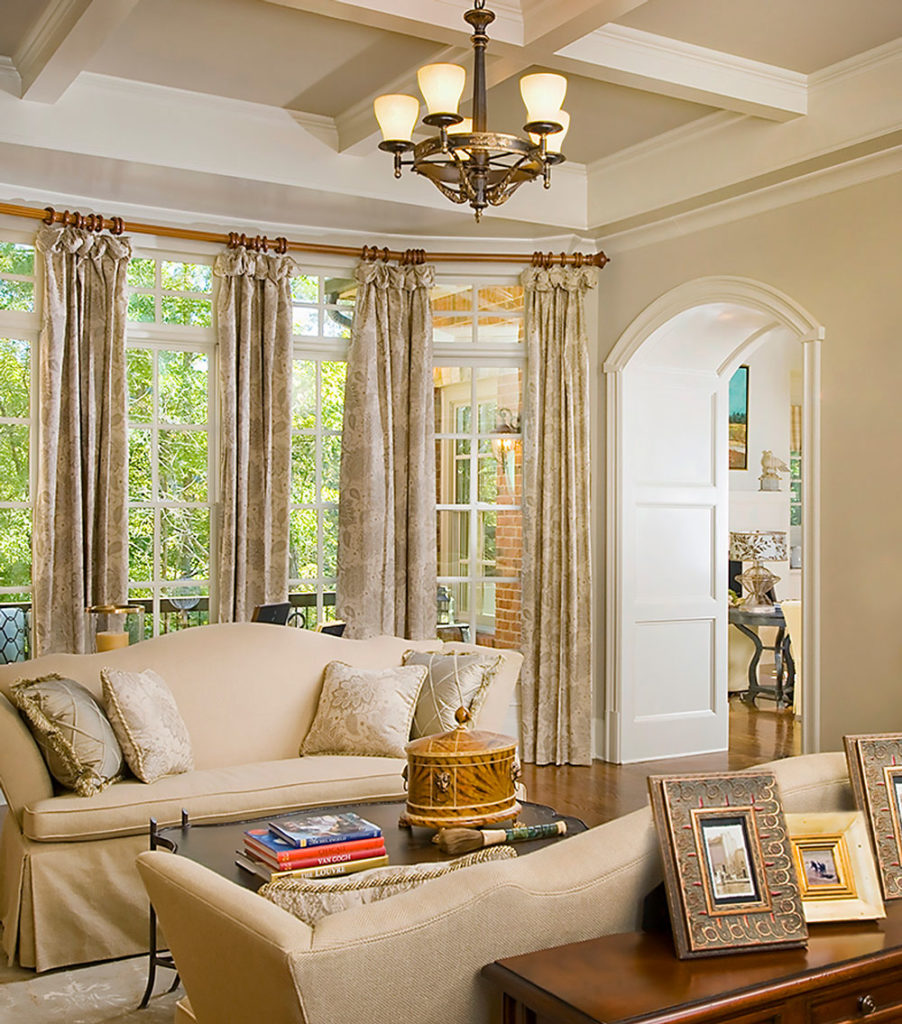 an Atlanta home interior with tray ceilings and large bay windows