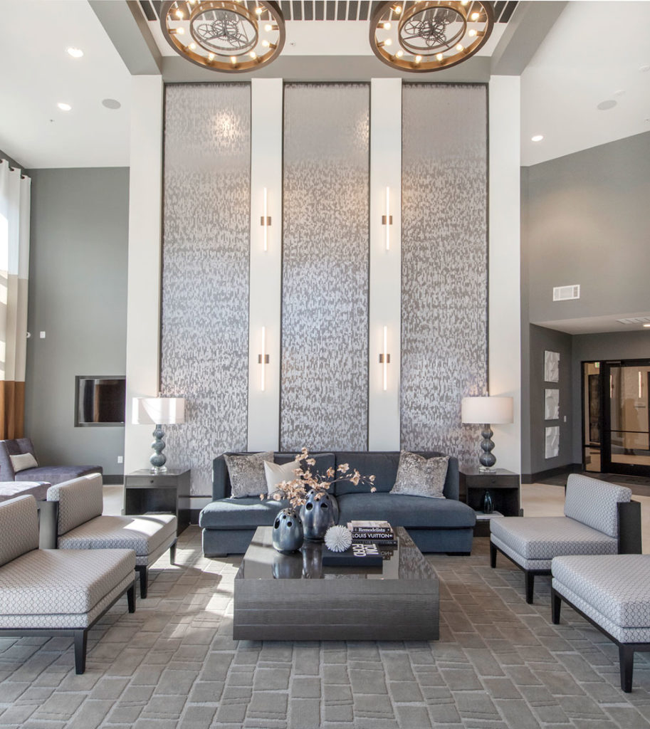 the lobby of a midtown apartment complex