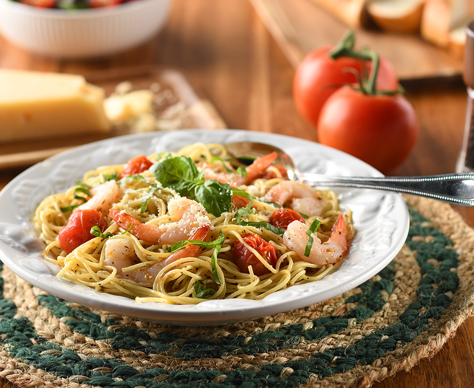 a tasty plate of shrimp pasta ready for the table